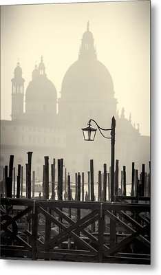 Black And White View Of Venice Metal Print