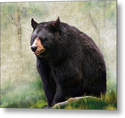 Metal Print featuring the painting Black Bear by Mary Almond