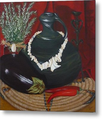 Metal Print featuring the painting Black Bottle by Helen Syron