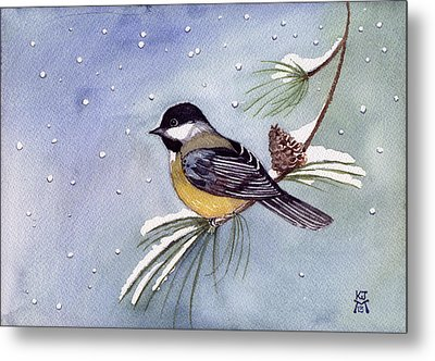 Black-capped Chickadee Metal Print by Katherine Miller