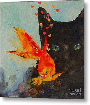 Black Cat And The Goldfish Metal Print