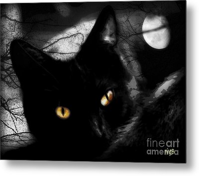 Metal Print featuring the digital art Black Cat Golden Eye by Mindy Bench