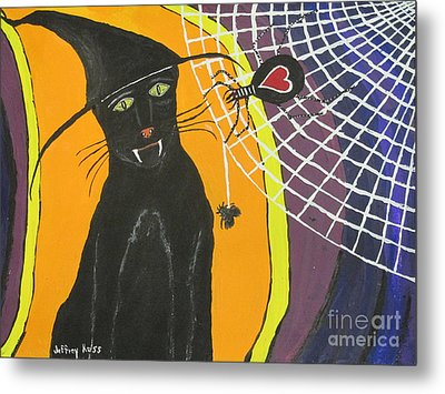 Black Cat In A Hat  Metal Print by Jeffrey Koss