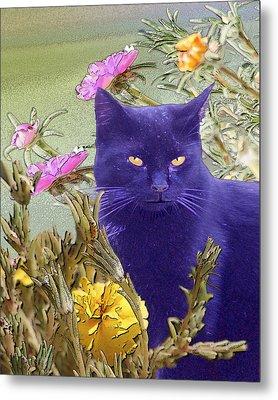 Black Cat Lurking In The Portulaca Metal Print by Alice Ramirez