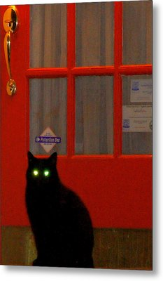 Black Cat Red Door Metal Print by DerekTXFactor Creative