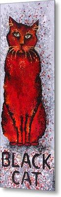 Black Cat Red Metal Print by Michelle Boudreaux