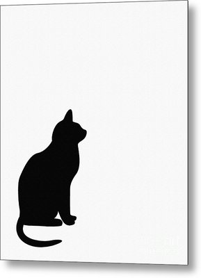 Black Cat Silhouette On A White Background Metal Print by Barbara Griffin