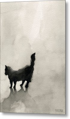 Black Cat Watercolor Painting Metal Print by Beverly Brown