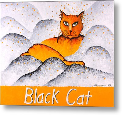 Black Cat Yellow Metal Print by Michelle Boudreaux