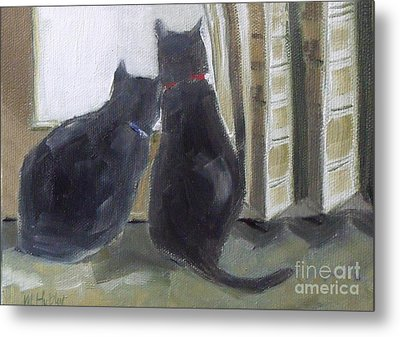 Black Cats  Metal Print by Mary Hubley