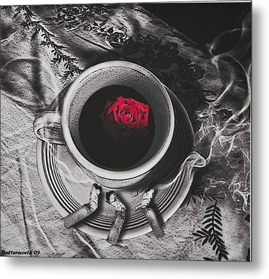 Black Coffee And Roses Metal Print by Larry Butterworth