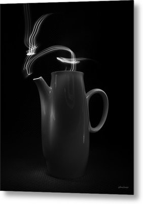 Metal Print featuring the photograph Black Coffee Pot - Light Painting by Steven Milner