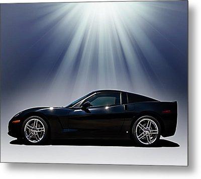 Black Corvette Metal Print by Douglas Pittman