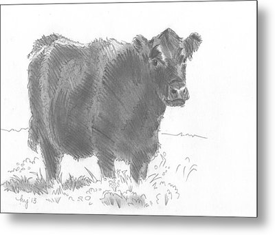 Black Cow Pencil Sketch Metal Print