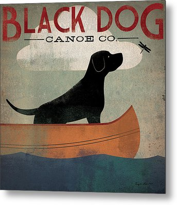 Black Dog Canoe Metal Print by Ryan Fowler