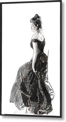 Black Evening Dress 1901 Metal Print by Padre Art