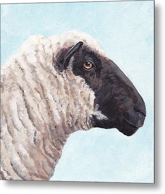 Black Face Sheep Metal Print by Charlotte Yealey