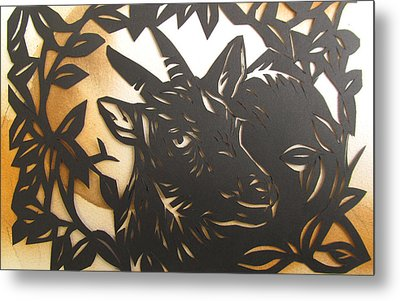 Black Goat Cut Out Metal Print by Alfred Ng