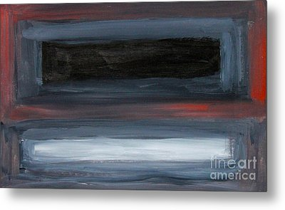 Black Gray Red After Rothko Metal Print by Anne Cameron Cutri