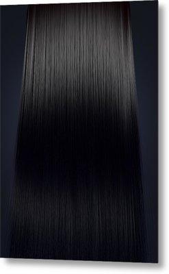 Black Hair Perfect Straight Metal Print by Allan Swart