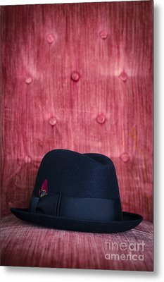 Black Hat On Red Velvet Chair Metal Print by Edward Fielding