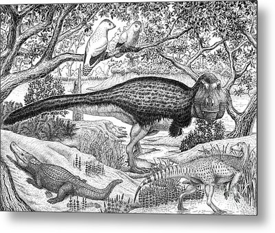 Black Ink Drawing Of Extinct Animals Metal Print by Vladimir Nikolov