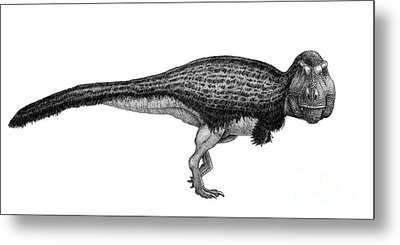 Black Ink Drawing Of Tyrannosaurus Rex Metal Print by Vladimir Nikolov