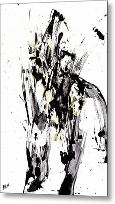 Metal Print featuring the painting Black Is Not White White Is Not Black by Kris Haas