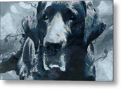 Black Lab Art - To The Moon And Back - By Sharon Cummings Metal Print