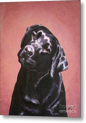 Black Labrador Portrait Painting Metal Print