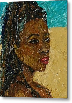 Black Lady No.9 Metal Print by Janet Ashworth