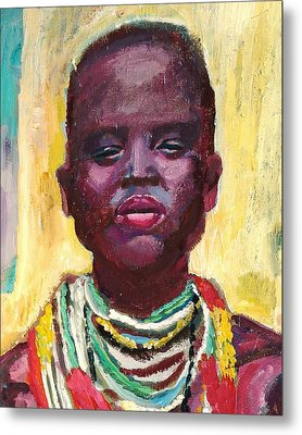 Black Lady With Necklaces Metal Print by Janet Ashworth