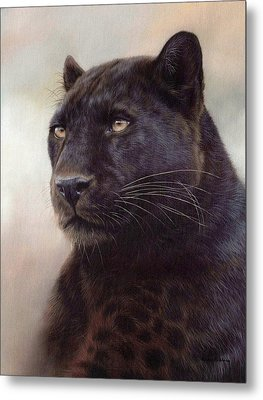 Black Leopard Painting Metal Print