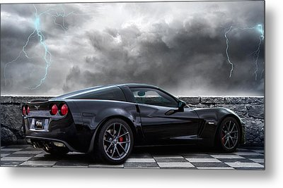 Black Lightning Metal Print by Peter Chilelli