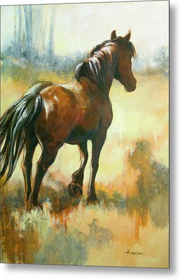 Black Mare In Summer Metal Print by Tracie Thompson