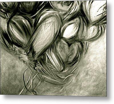 Black N' White-hearts Soar-thinking Of You Metal Print by Juliann Sweet