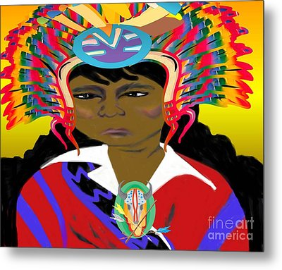 Black Native American Indian Metal Print by Belinda Threeths