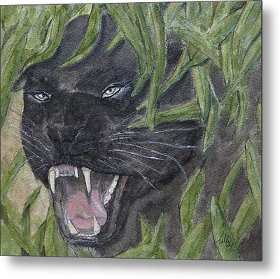 Metal Print featuring the painting Black Panther Fury by Kelly Mills