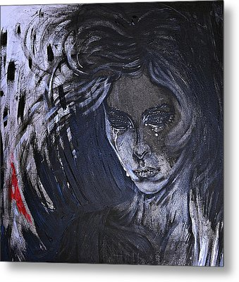 Metal Print featuring the painting black portrait 16 Juliette by Sandro Ramani