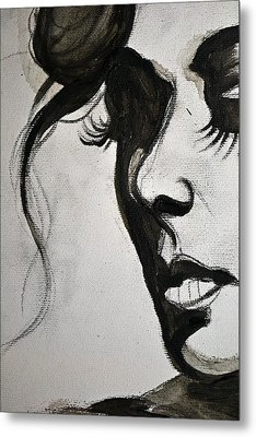 Metal Print featuring the painting Black Portrait 16 by Sandro Ramani