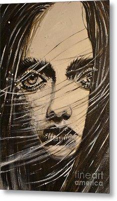 Black Portrait 18 Metal Print by Sandro Ramani
