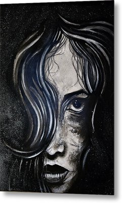 Metal Print featuring the painting Black Portrait 5 by Sandro Ramani