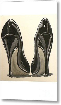 Metal Print featuring the painting Black Pumps by Marisela Mungia