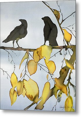 Black Ravens In Birch Metal Print