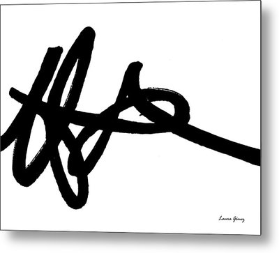 Black Ray -minimal Black And White Abstract By Laura Gomez - Horizontal Format Metal Print