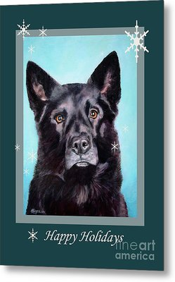 Black Shepard Mix Portrait Holiday Metal Print