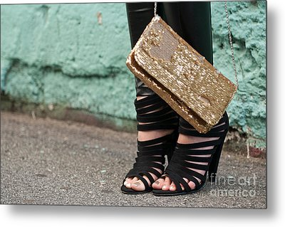 Black Shoes Gold Sequins Metal Print by Rick Piper Photography