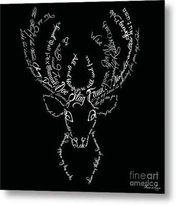 Black Stag Metal Print by Marion De Lauzun