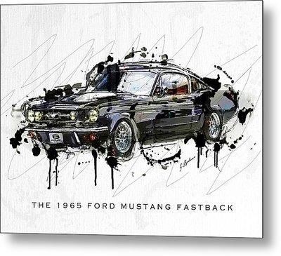 Black Stallion 1965 Ford Mustang Fastback #3 Metal Print by Gary Bodnar