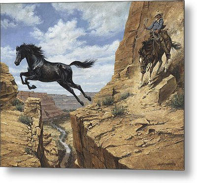 Black Stallion Jumping Canyon Metal Print by Don  Langeneckert